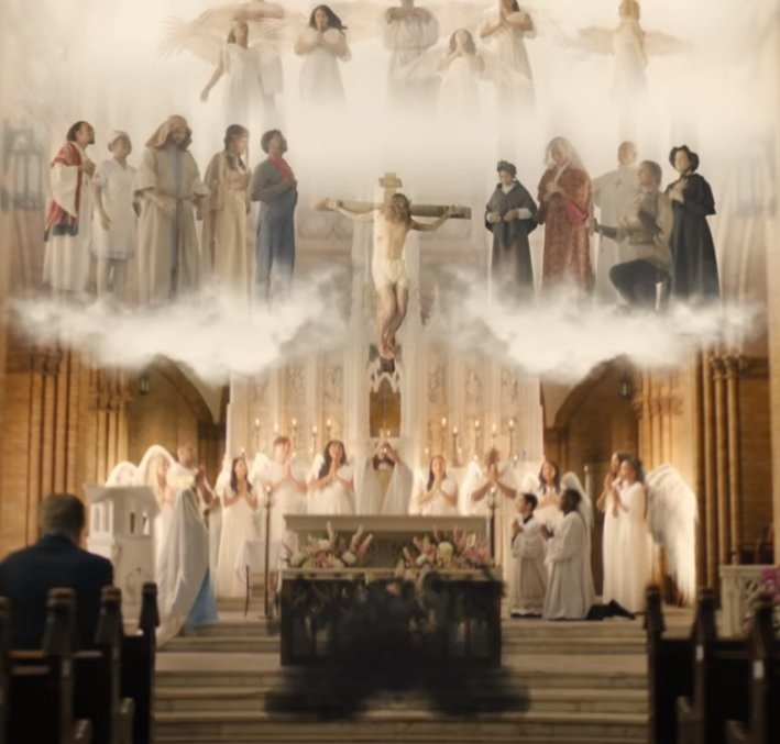 image of heaven with the Saints and Angels at Holy Mass.