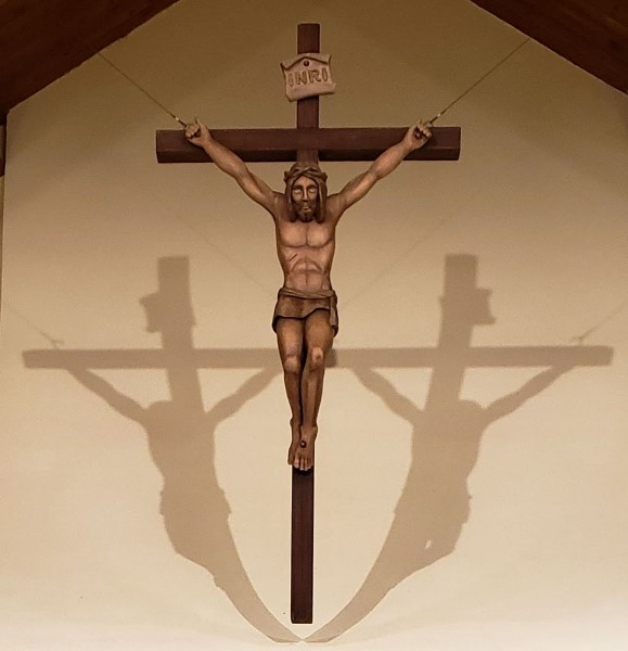 A close up picture of the Crucifix in the sanctuary of St. John the Evangelist