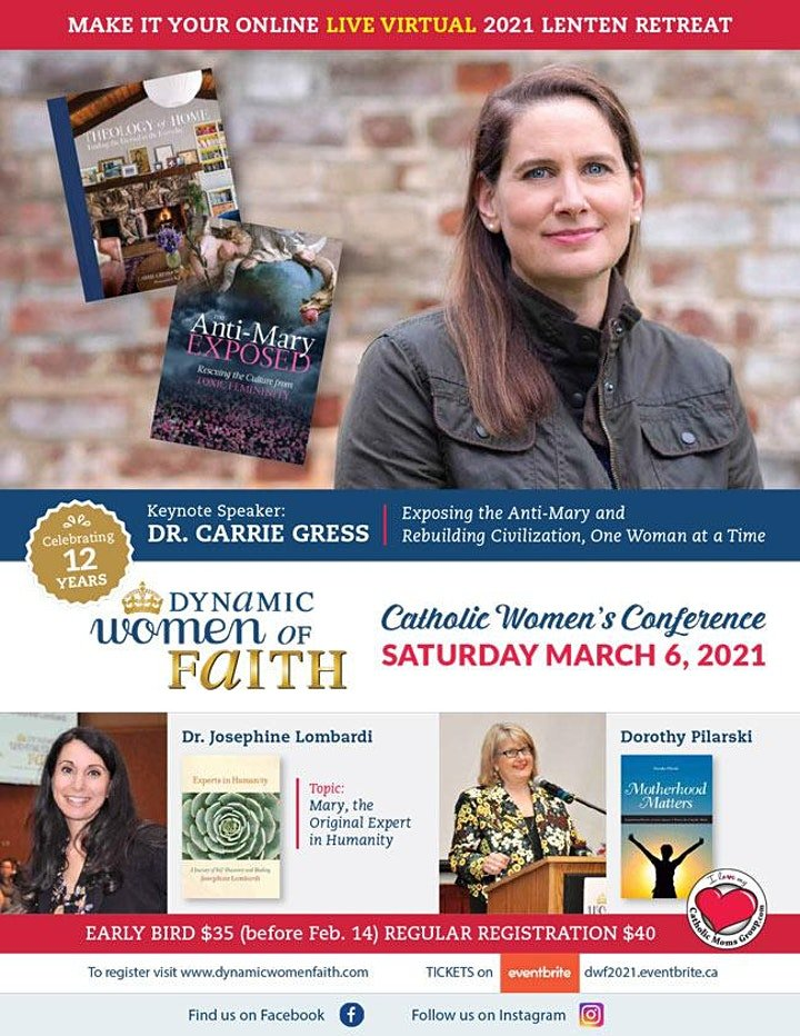 Flyer with Dynamic Women of Faith Conference with pictures of speakers